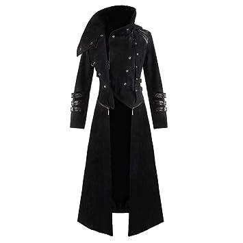 Homme Gothique Steampunk Capuche Trench Partie Costume Veste