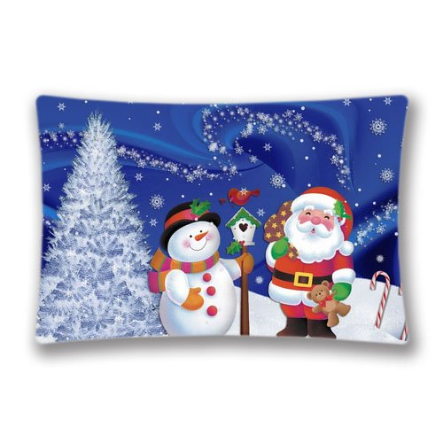 Cute Halloween Screensaver (Custom Design Screensavers and Snow Man Throw Pillow Cases Zippered, Standard Queen Size Christmas Pillowcase - 20X30inch Cushion Cover Twin Sides Print)