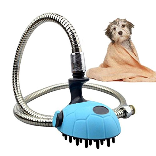 OWIKAR Multifunctional Pet Shower Head With Hose Bath Tub Dog Shower Head Brush Pet Grooming Shower Pet Washing And Massager Handheld Sprayer With Stainless Steel Hose For Dogs And Cats- Blue