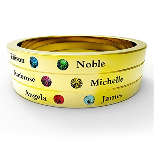 CustomNecklace Family & Friendship Ring Engrave Names Custom 6 Birthstone 925 Sterling Silver Rings Gifts gold-plated-base 10.5 ()