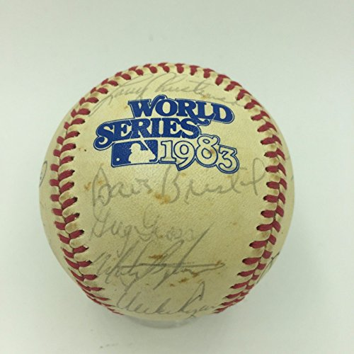 1983 Philadelphia Phillies Team Signed World Series Game Used Baseball PSA COA