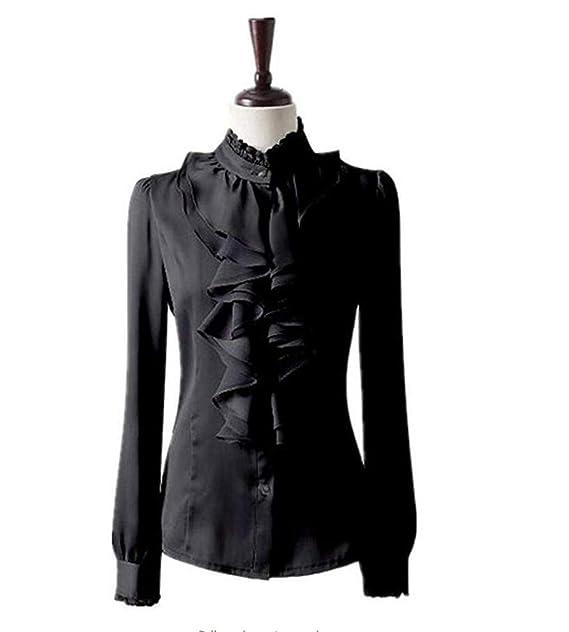 4dfe017b8ada2 Nonbrand Ladies Ruffle Shirt Winter Long Sleeve Blouse Womens Satin Top  Office Dress  Amazon.co.uk  Clothing
