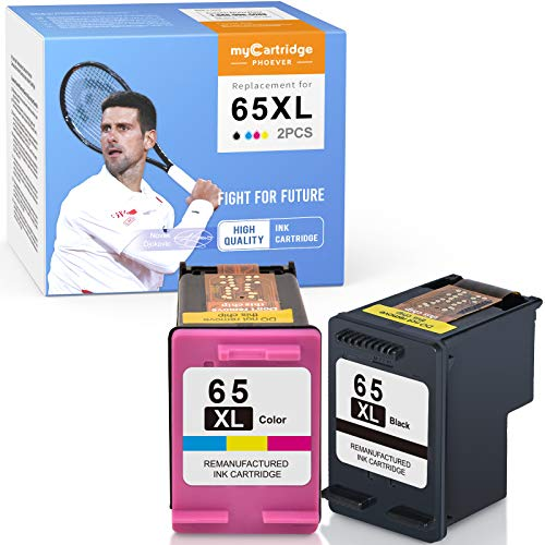 myCartridge PHOEVER Remanufactured Ink Cartridge Replacement for HP 65XL 65 XL for Envy 5055 5058 5052 DeskJet 3720 3722 3723 3755 2655 3752 2652 3758 2624 ( Black,Tri-Color,2 Pack)