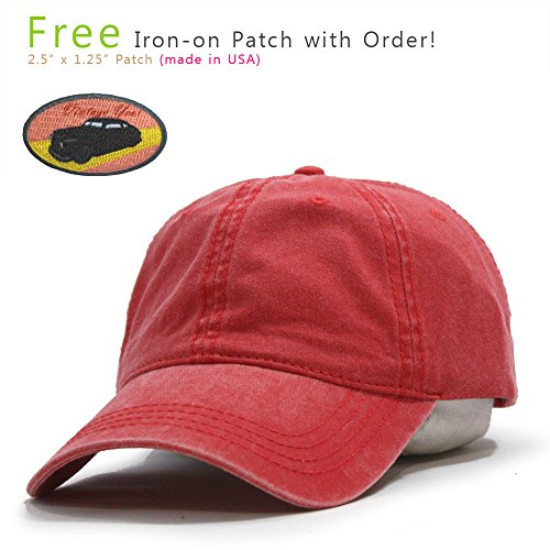 Plain Washed Dyed Cotton Twill Low Profile Adjustable Baseball Cap (Red)