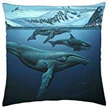 """HUMPBACK WHALES - Throw Pillow Cover Case (16"""" x 16"""")"""
