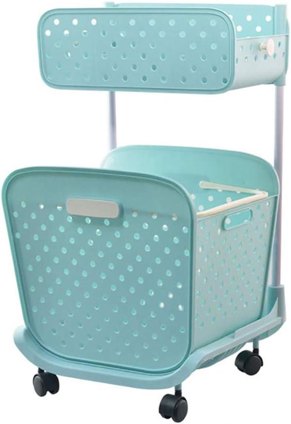 Laundry Basket 2 Floor Laundry Basket On Wheels,Laundry Sorter,Hamper with Removable Basket-Blue