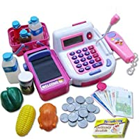Toys N Smile Cash Register Pretend Play Toy with Action, Sound, Scanner, Working Calculator and Accessories ( Multi-Colour)