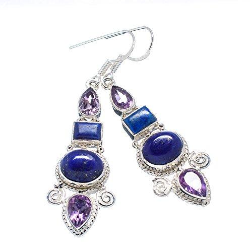 "Ana Silver Co Lapis Lazuli, Amethyst 925 Sterling Silver Earrings 2 1/2"""