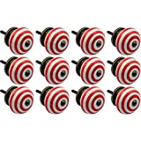 Nicola Spring Ceramic Cupboard Drawer Knobs - Stripe Design - Light Red - Pack Of 12