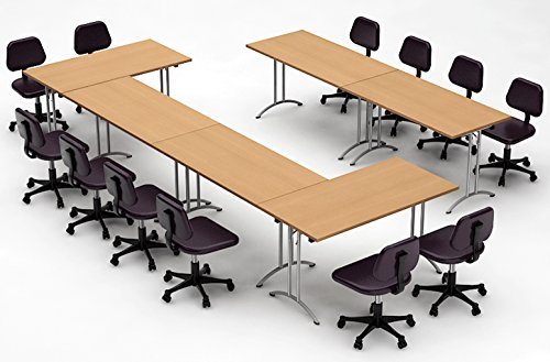 Team WORK Tables Conference Meeting, Seminar, Training, Assembled Commercial Grade Folding Tables, Natural Beech, 6 Piece