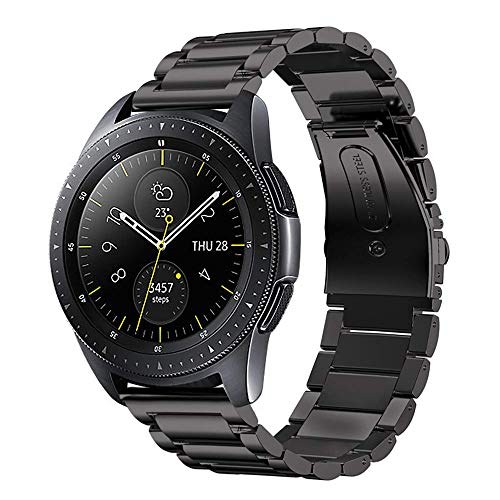 LDFAS Galaxy Watch 42MM Band, 20mm Solid Stainless Steel Metal Watch Strap Compatible for Samsung Galaxy Watch 42MM/Galaxy Watch Active 40mm Smartwatch, Black
