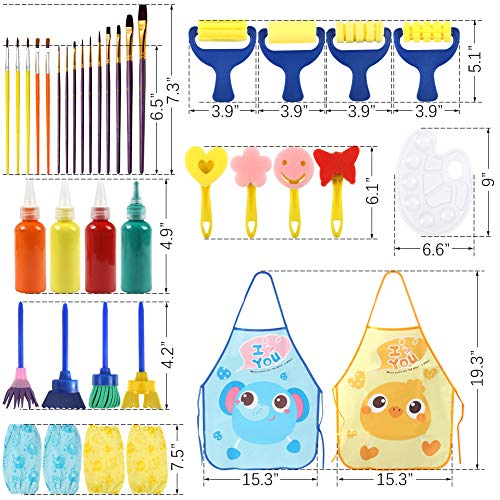 BigOtters Painting Tool Kits, 34PCS Kids Washable Paint Brushes Set Finger Paints Sponges Supply for School Prizes Art Party Gift
