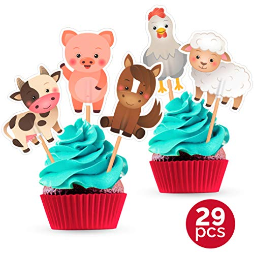 Farm Animal Cupcake Toppers - Birthday Party Baby Shower Decorations Supplies - 25 PCS]()