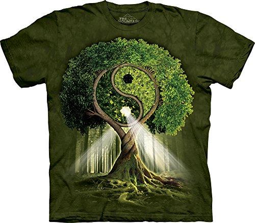 The Mountain Yin Yang Tree T-Shirt, XX-Large, Green