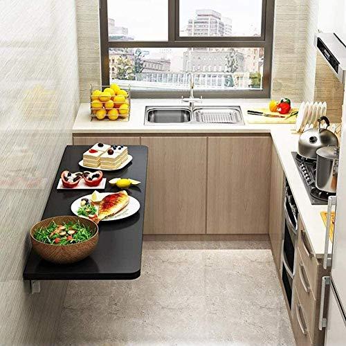 Soffbord LQ-bord vikning, trä väggmonterad, konsol hållbar, stabil för kök restaurang tvättstuga matsal (färg: 90 x 30 cm, storlek: svart)