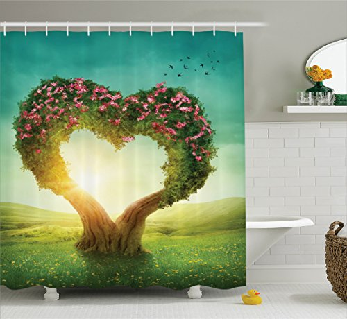 Ambesonne Love Decor Collection, Heart Shaped Tree in the Meadow Grassland Wildflowers Enchanted Fairytale Image, Polyester Fabric Bathroom Shower Curtain Set with Hooks, Green Teal Pink - Love Shaped Heart Flowers