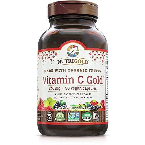Organic Vitamin C Gold, Whole-food Vitamin C Supplement from Organic Berries and Fruits – NOT Synthetic Ascorbic Acid, 240 mg, 90 Capsules (Corn-free, Certified Organic, Vegan, Kosher, Non-GMO)