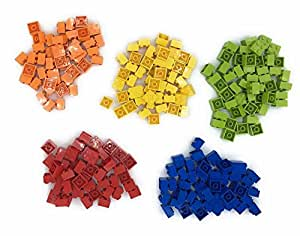 Lego 2x2 Bricks, 250 Count, 50 of each (Red, Orange, Yellow, Lime, Blue)