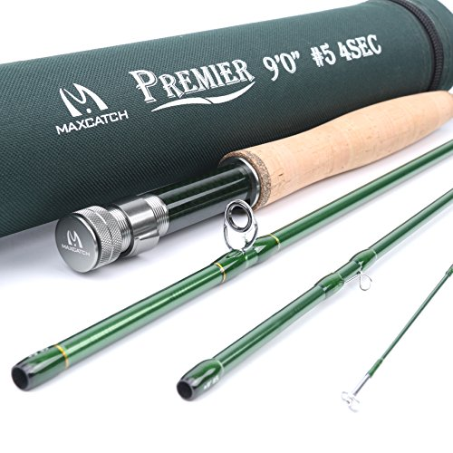 Maxcatch 3-12wt Medium-fast Action Premier Fly Rod-IM8 Carbon Blank for High Performance,with AA Cork Grip Hard Chromed Guides and Cordura Tube (V-Premier, 9' 5wt) (5wt Piece 3)