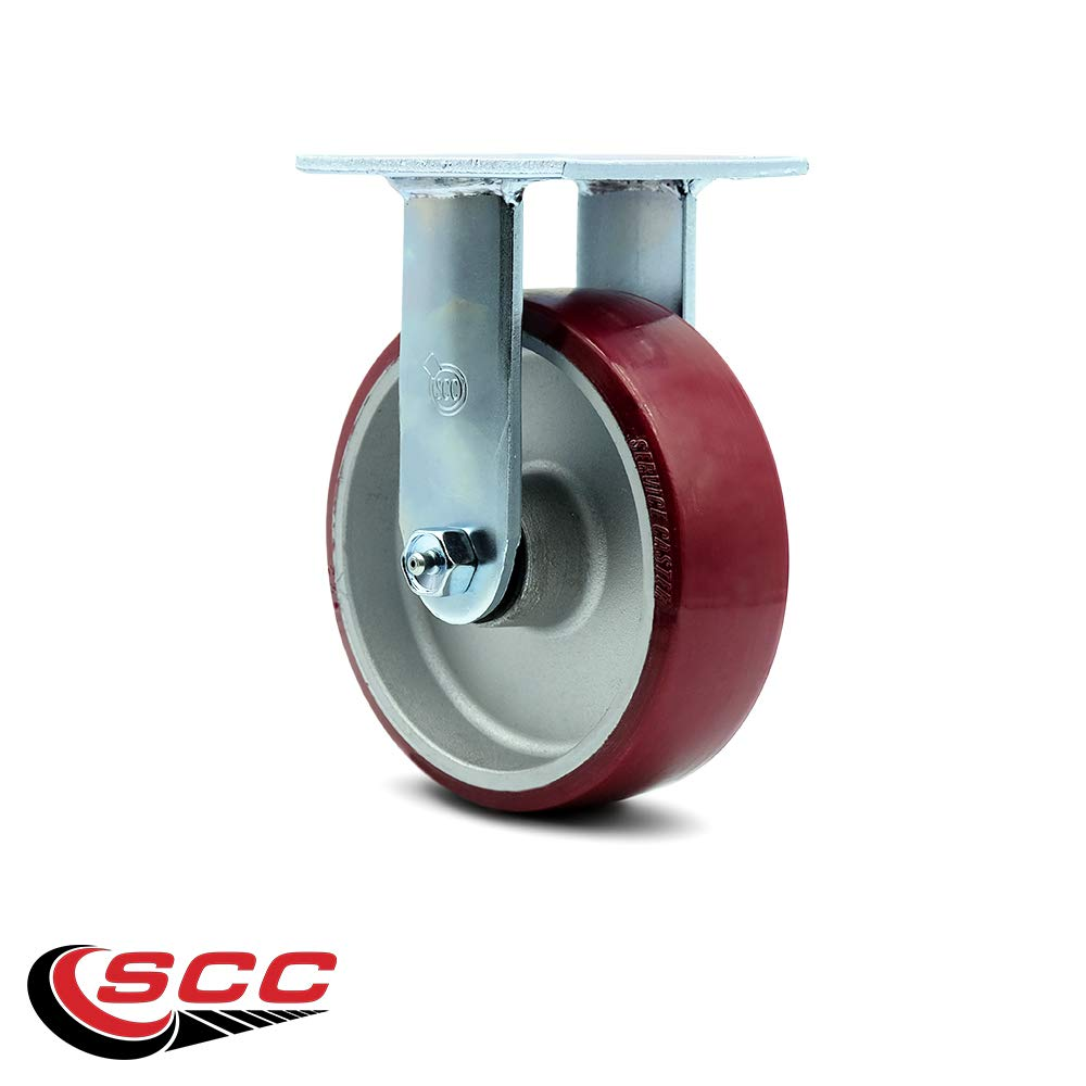 Service Caster - 6'' x 2'' Polyurethane on Aluminum Wheel Rigid Caster - 1,200lbs/Caster