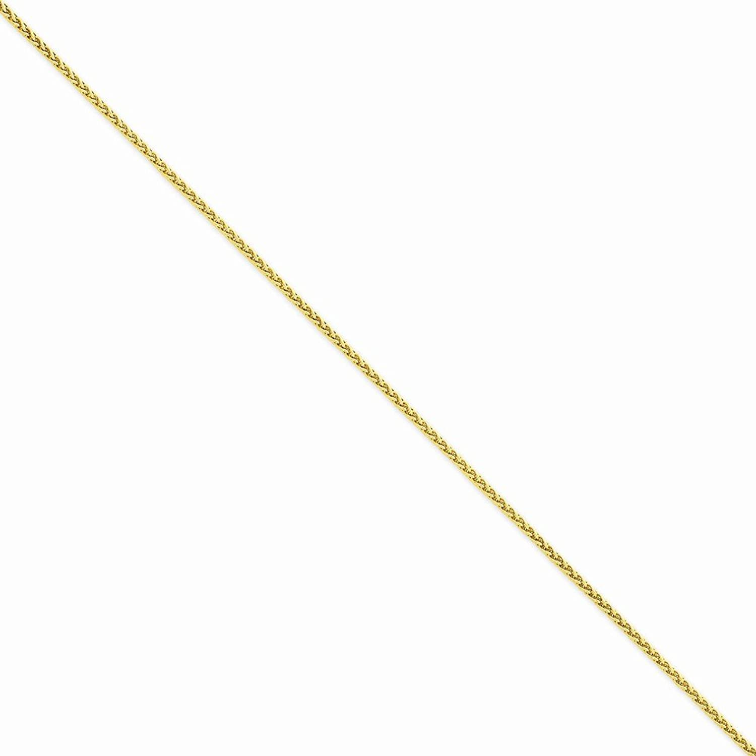 14k Yellow Gold 1.9mm Parisian Wheat Chain Anklet 10 Inches