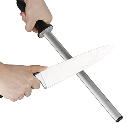 IPEGTOP Chaira de diamante 25cm, Afilador de Cuchillos de Cocina para Chefs Profesionales, Barra de Afilado de Cuchillas