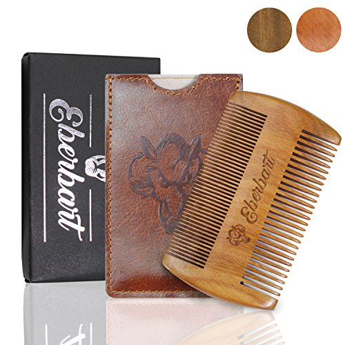 (Anti-Snag Beard Comb (Pear Wood) with Case - Bonus Free Beard Ebook, Travel Size, Ideal Unique Gift, Wood Beard Comb Pocket Size - Both Fine and Wide Tooth by Eberbart)