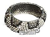 "SILVER/CLEAR/BLACK 1 1/4"" wide Leopard Pave Swarovski Crystal & Rhinestone BLING Hinged Metal Bangle Bracelet by Jersey Bling handmade"