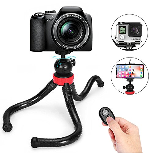 Flexible Camera Tripod- 12 Inch Mini Tripod Stand for GoPro/Action Cam/DSLR/ Canon/Nikon/, Mini Cell Phone Tripod with Bluetooth Remote for iPhone and Universal Android Phone by Edlife
