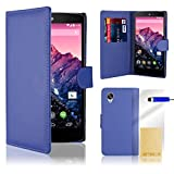 32nd® Book wallet PU leather case cover for Google Nexus 5 + screen protector, cleaning cloth and touch stylus - Deep Blue