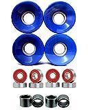 Everland Skateboard Wheels 60x44mm w/ Bearings & Spacers (Blue)