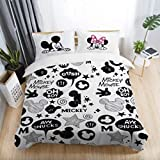 Bedding Sets Black and White Mickey Minnie Mouse 3D Printed Bedding Sets Adult Twin Full Queen King Size Bedroom Decoration Cover Set by ATUSY 
