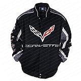 West Coast Corvette - C7 Corvette All Logo Collage Twill Jacket - Black : C1, C2, C3, C4, C5, C6, C7 (X-Large)
