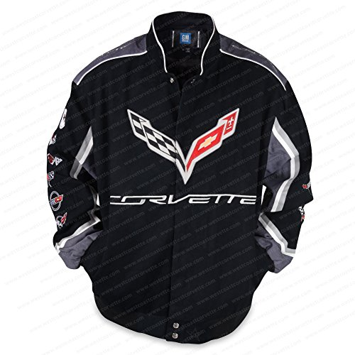 West Coast Corvette - C7 Corvette All Logo Collage Twill Jacket - Black : C1, C2, C3, C4, C5, C6, C7 (Large) (Multi Logo Collage)