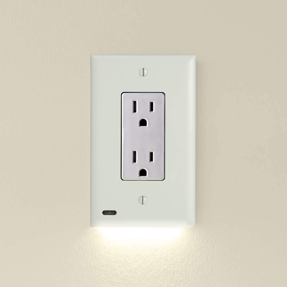 Single - SnapPower GuideLight 2 for Outlets [for Standard Decor, Not GFCI outlets] - Night Light - Electrical Outlet Wall Plate with LED Night Lights - Automatic On/Off Sensor - (Décor, Light Almond)