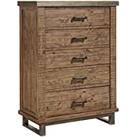 Ashley Furniture Signature Design - Dondie Chest of Drawers - 5-Drawer Urban Contemporary Dresser - Warm Brown