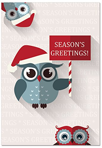 12 'Happy Owlidays' Sign Boxed Season's Greetings Cards with Envelopes 4.63 x 6.75 inch, Adorable Note Cards with Owls and Santa Hats, Stationery Set for Holidays, Christmas, New Year ()