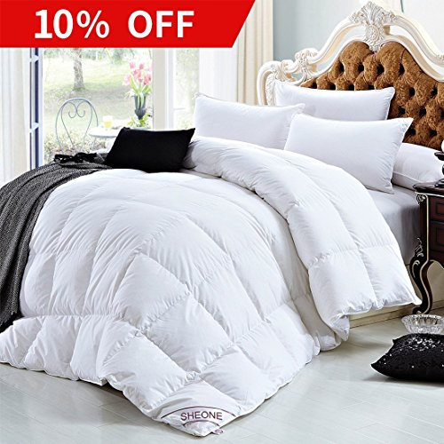White Goose Down Comforters King/Cal King Size 600 Thread Count 100% Cotton 700 + Fill Power Shell Down Proof-Solid White Hypo-allergenic with Corner Tabs by SHEONE