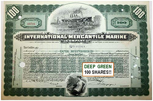 Hand Signed Green - 1918 ORIGINAL TITANIC STOCK CERTIFICATE ENGRAVED IN 1902! HAND SIGNED! RARE DEEP GREEN 100 SHARES Various Share Amounts EXTREMELY FINE