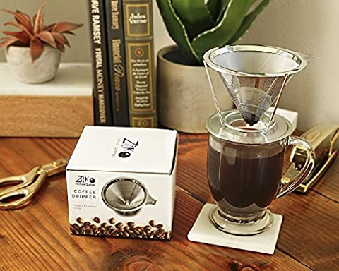 European Stainless Steel Single Cup Pour Over and Hand Drip Coffee Dripper / Filter with Stand | For Brewing - Deluxe Personal Warmer
