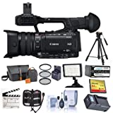 Canon XF205 High Definition Professional 1080p Camcorder, - Bundle With Video Bag, 64GB Compact Flash Card, Tripod, Spare Battery, 58mm Filter Kit, Video Light, Cleaning Kit, And More