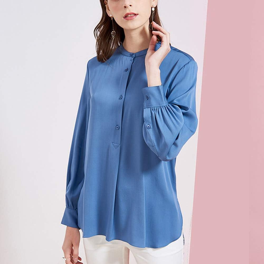 Valin V7316 - Camicia da donna in 100% seta, girocollo, maniche lunghe, slim Blu