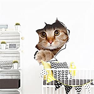 UNKE Removable DIY 3D Cat/Dog Toilet Dining Room Wall Sticker Decal Vinyl Home Decor by UNKE