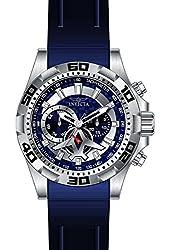 Invicta Men's Aviator Blue Polyurethane Band Steel Case Quartz Analog Watch 21736