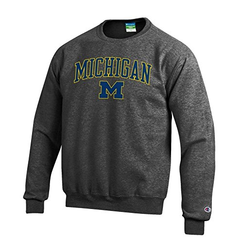 Elite Fan Shop Michigan Wolverines Crewneck Sweatshirt Varsity Charcoal - XL