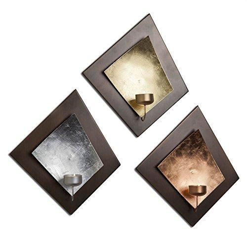 Silver Leaves Wall Art (Wall Tea Light Holder - Set of 3)