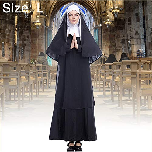 Seatment Halloween Decorations Halloween Costume Women Nun Missionary Cosplay Clothing, Size:S, Bust:92cm, Dress Length:138cm, Shoulder Width:38cmDecorations (Color : Color3) by Seatment