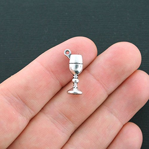 10 Wine Glass Charms Antique Silver Tone 3D Chalice or Goblet for Jewelry Making Bracelet Necklace DIY ()