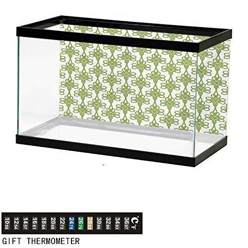(wwwhsl Aquarium Background,Irish,Entangled Clover Leaves Twigs Celtic Pattern Botanical Filigree Inspired Retro Tile,Green Cream Fish Tank Backdrop 30