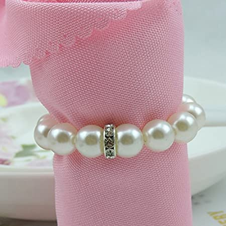 20 Tangpan Imitation Pearl Napkin Rings With Elastic For Wedding And Hotel With Diamond Soft Decoration For Napkin Rings